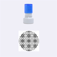 Blue White Abstract Flower Pattern Rubber Round Stamps (small) by Costasonlineshop
