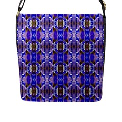Blue White Abstract Flower Pattern Flap Messenger Bag (l)  by Costasonlineshop