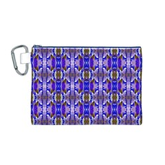 Blue White Abstract Flower Pattern Canvas Cosmetic Bag (m) by Costasonlineshop