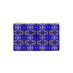 Blue White Abstract Flower Pattern Cosmetic Bag (xs) by Costasonlineshop