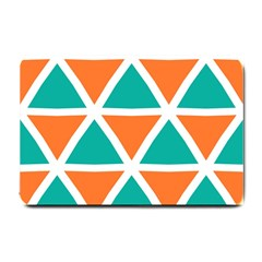 Orange Green Triangles Pattern 			small Doormat by LalyLauraFLM