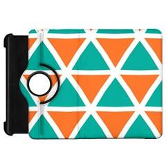 Orange Green Triangles Pattern kindle Fire Hd Flip 360 Case by LalyLauraFLM