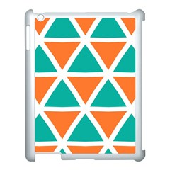 Orange Green Triangles Pattern 			apple Ipad 3/4 Case (white) by LalyLauraFLM