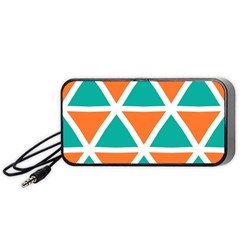 Orange Green Triangles Pattern Portable Speaker by LalyLauraFLM