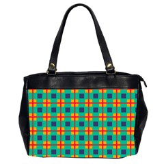 Squares In Retro Colors Pattern Oversize Office Handbag (2 Sides) by LalyLauraFLM
