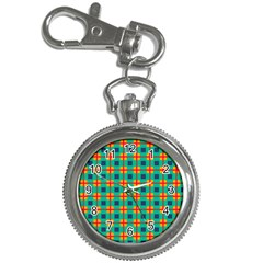 Squares In Retro Colors Pattern key Chain Watch by LalyLauraFLM