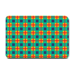Squares In Retro Colors Pattern 			small Doormat by LalyLauraFLM
