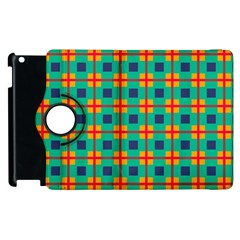 Squares In Retro Colors Pattern apple Ipad 2 Flip 360 Case by LalyLauraFLM