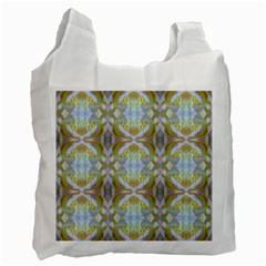 Beautiful White Yellow Rose Pattern Recycle Bag (two Side)  by Costasonlineshop