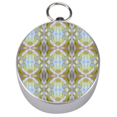 Beautiful White Yellow Rose Pattern Silver Compasses by Costasonlineshop