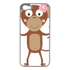 Female Monkey With Flower Apple Iphone 5 Case (silver) by ilovecotton