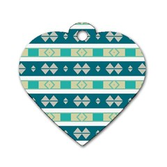 Rhombus And Stripes dog Tag Heart (one Side) by LalyLauraFLM