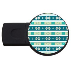 Rhombus And Stripes 			usb Flash Drive Round (4 Gb) by LalyLauraFLM