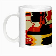 Distorted shapes in retro colors Night Luminous Mug by LalyLauraFLM