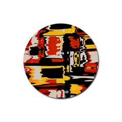 Distorted Shapes In Retro Colors rubber Round Coaster (4 Pack) by LalyLauraFLM