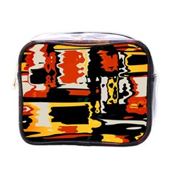 Distorted Shapes In Retro Colors 			mini Toiletries Bag (one Side) by LalyLauraFLM