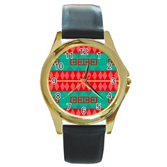 Rhombus Stripes And Other Shapes round Gold Metal Watch by LalyLauraFLM