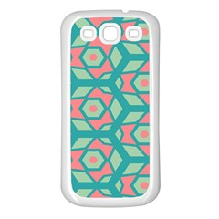 Pink Honeycombs Flowers Pattern  samsung Galaxy S3 Back Case (white) by LalyLauraFLM