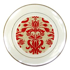 Ruby Red Swirls Porcelain Plates by SalonOfArtDesigns