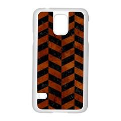 Chevron1 Black Marble & Brown Burl Wood Samsung Galaxy S5 Case (white) by trendistuff