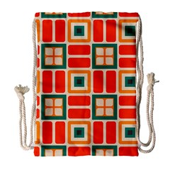Squares And Rectangles In Retro Colors Large Drawstring Bag by LalyLauraFLM