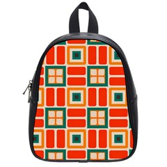 Squares And Rectangles In Retro Colors 			school Bag (small) by LalyLauraFLM