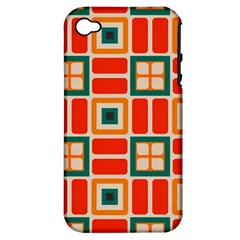 Squares And Rectangles In Retro Colors 			apple Iphone 4/4s Hardshell Case (pc+silicone) by LalyLauraFLM