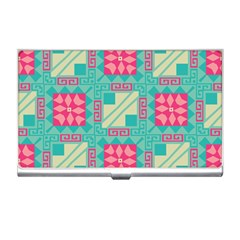 Pink Flowers In Squares Pattern business Card Holder by LalyLauraFLM