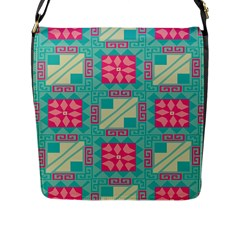 Pink Flowers In Squares Pattern 			flap Closure Messenger Bag (l) by LalyLauraFLM