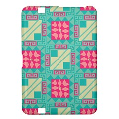 Pink Flowers In Squares Pattern kindle Fire Hd 8 9  Hardshell Case by LalyLauraFLM