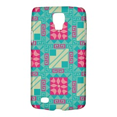 Pink Flowers In Squares Pattern samsung Galaxy S4 Active (i9295) Hardshell Case by LalyLauraFLM