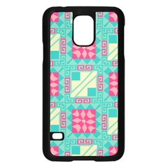 Pink Flowers In Squares Pattern 			samsung Galaxy S5 Case (black) by LalyLauraFLM