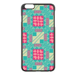 Pink Flowers In Squares Pattern 			apple Iphone 6 Plus/6s Plus Black Enamel Case by LalyLauraFLM
