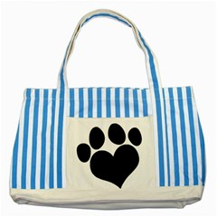 Puppy Love Striped Blue Tote Bag by ButThePitBull