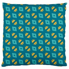Blue Yellow Shapes Pattern 	large Flano Cushion Case (two Sides) by LalyLauraFLM