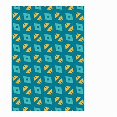 Blue Yellow Shapes Pattern Small Garden Flag by LalyLauraFLM