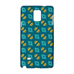 Blue yellow shapes pattern Samsung Galaxy Note 4 Hardshell Case by LalyLauraFLM