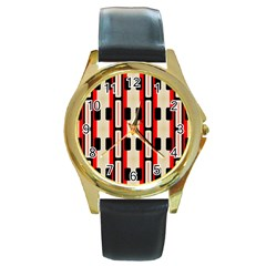 Rectangles And Stripes Pattern round Gold Metal Watch by LalyLauraFLM