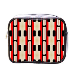 Rectangles And Stripes Pattern mini Toiletries Bag (one Side) by LalyLauraFLM
