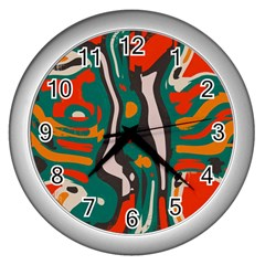 Retro Colors Chaos wall Clock (silver) by LalyLauraFLM