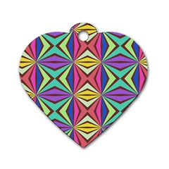 Connected Shapes In Retro Colors  			dog Tag Heart (one Side) by LalyLauraFLM