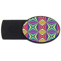 Connected Shapes In Retro Colors  			usb Flash Drive Oval (2 Gb) by LalyLauraFLM