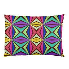 Connected Shapes In Retro Colors  pillow Case by LalyLauraFLM