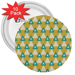 White Blue Triangles Pattern 			3  Button (10 Pack) by LalyLauraFLM