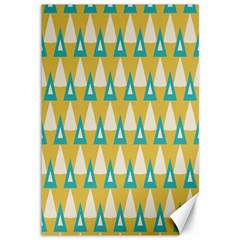White Blue Triangles Pattern 			canvas 12  X 18  by LalyLauraFLM