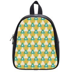 White Blue Triangles Pattern 			school Bag (small) by LalyLauraFLM