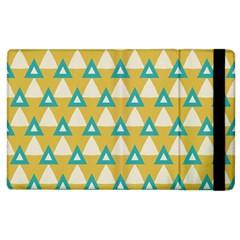 White Blue Triangles Pattern apple Ipad 2 Flip Case by LalyLauraFLM