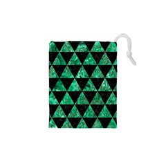 Triangle3 Black Marble & Green Marble Drawstring Pouch (xs) by trendistuff