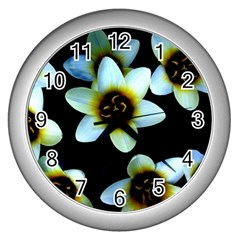 Light Blue Flowers On A Black Background Wall Clocks (silver)  by Costasonlineshop