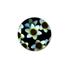 Light Blue Flowers On A Black Background Golf Ball Marker (4 pack) by Costasonlineshop